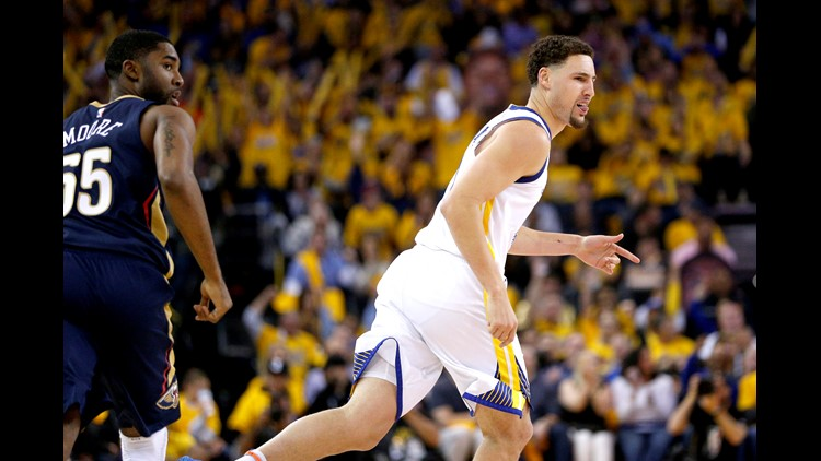 Apr 28, 2018; Oakland, CA, USA; Warriors guard Klay Thompson (11) reacts after making a three pointer against New Orleans in game one of the 2nd round of the 2018 NBA Playoffs at Oracle Arena. Mandatory Credit: Cary Edmondson-USA TODAY Sports
