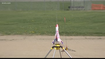 Priest River elementary students launch mini-rockets for Astro Day