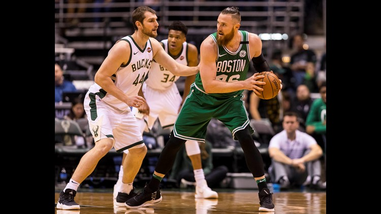 Apr 20, 2018; Milwaukee, WI, USA; Boston Celtics center Aron Baynes (46) holds the ball during the third quarter in game three of the first round of the 2018 NBA Playoffs at BMO Harris Bradley Center. Mandatory Credit: Jeff Hanisch-USA TODAY Sports