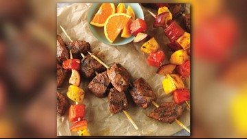 BBQ Forecast: Citrus-marinated beef top sirloin and fruit kabobs