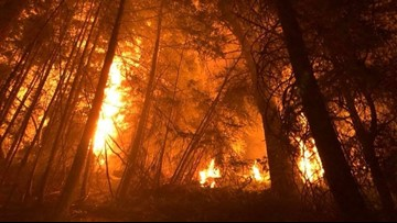Crescent Mountain fire evacuations still in place after burning for over a month