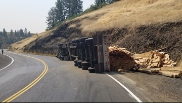 Idaho Highway 11 partially closed after semi-truck tips over