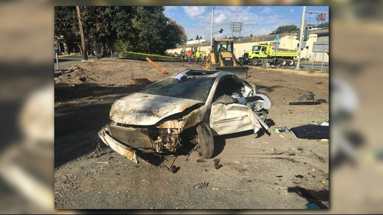 The man was attempting to flee down Sunset Hill on eastbound I-90, then lost control while trying to exit at Maple Street. He drove into the intersection at 5th Avenue and Maple Street, where he took out signs, shrubs, trees and a power line.