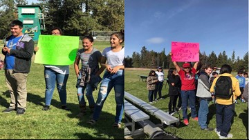 Inchelium students walk out in support of their teachers' salary negotiations