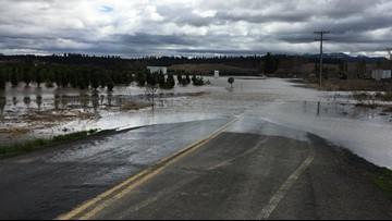 High flood waters close roads in Potlatch