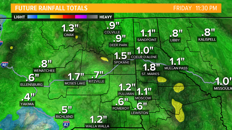 Rain totals Spokane