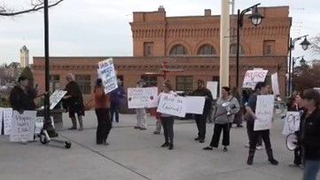 Protesters at Spokane City Hall, demanding 'Open Jewels Shelter Now'