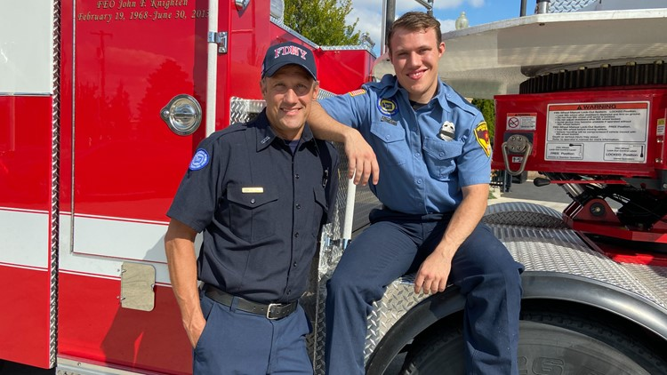 'We get to go home afterward, they didn't': Father-son firefighting duo reflects on 9/11, climb thousands of stairs