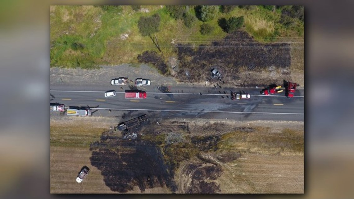 Fire engulfs both vehicles, spreads to field in fatal Hwy 95 crash
