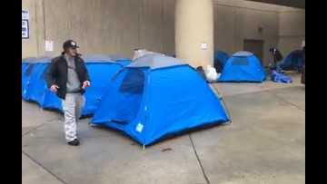 Spokane may open emergency warming centers after tents go up at city hall