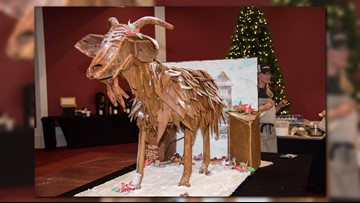 Gingerbread garbage goat has same functions as Riverfront Park sculpture