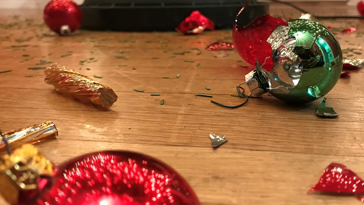 Toddlers create Christmas tree chaos