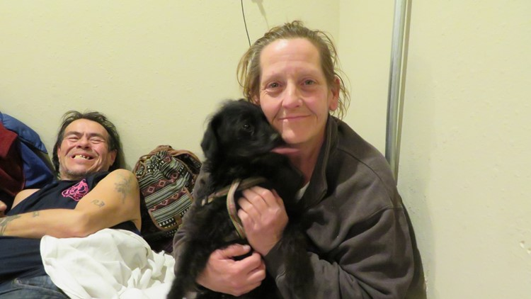 Barb and her dog Sissy at a Spokane warming shelter