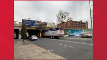 Another semi-truck was stuck under the Stevens Street overpass