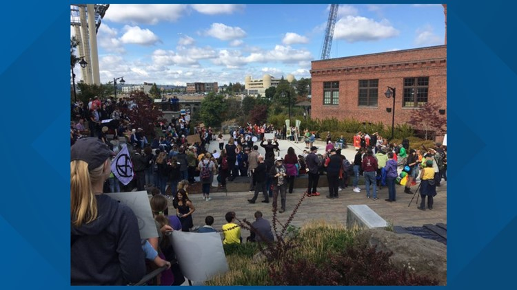Young climate activists rally in Downtown Spokane