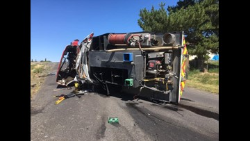 Grant Co. fire engine crashes while en route to call near Royal City