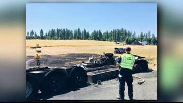 Trucks go up in flames in deadly crash on Hwy 95 | krem com