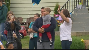 Spokane fire trucks form a parade to wish a three-year-old with cancer a happy birthday