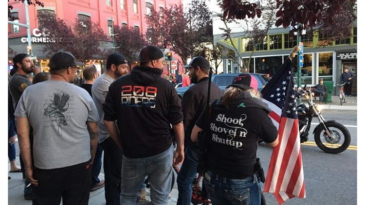 Protesters, armed citizens gather in downtown Coeur d'Alene Monday