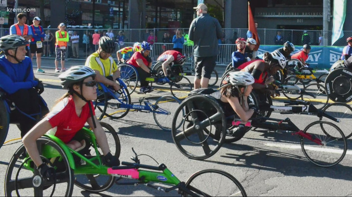 Wheelchair track and field athlete races Bloomsday