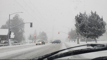 Three inches of snow falls in Spokane before change to rain