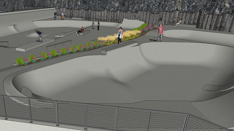 Construction underway on Riverfront Park skatepark and playground