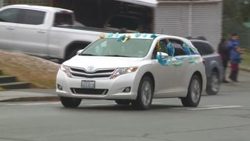 WATCH: Spokane, Coeur d'Alene teachers form car parades to visit their students