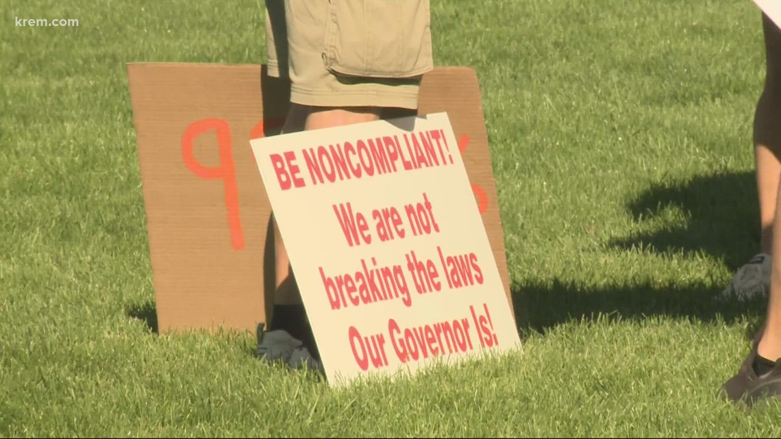 Thousands gather at Riverfront Park to protest vaccines, mask mandates