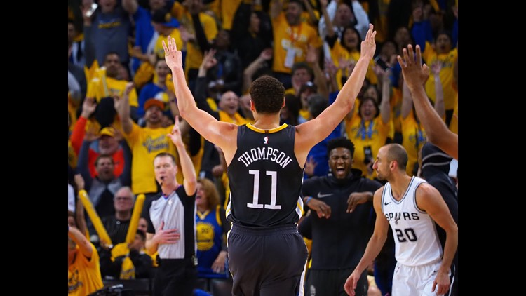 Apr 16, 2018; Oakland, CA, USA; Golden State Warriors guard Klay Thompson (11) gestures after scoring a three point basket against San Antonio in game two of the first round of the 2018 NBA Playoffs. Mandatory Credit: Kelley L Cox-USA TODAY Sports