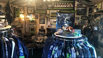 Nine Mile Falls woman takes Seahawks fandom to next level with 'Mom Cave'