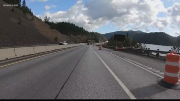 Construction on I-90 Bridge by Higgens Point near completion