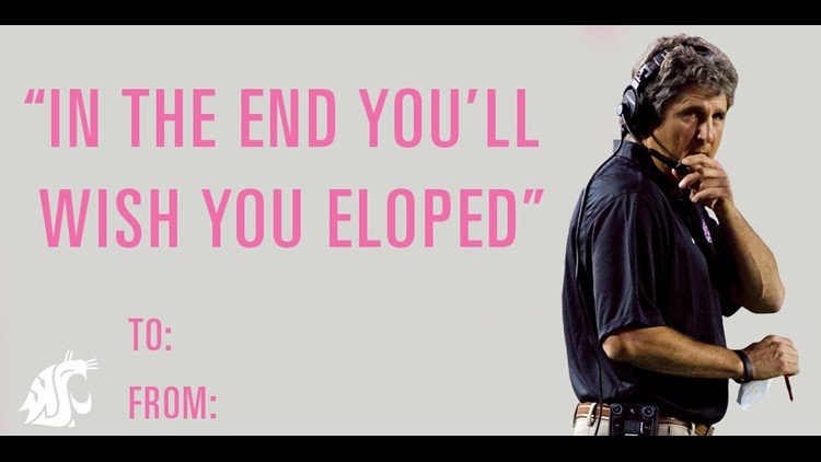 Mike Leach's hilarious marriage advice inspires WSU Valentine's Day cards