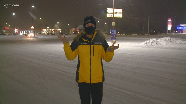 Traffic conditions in Spokane amid heavy snow