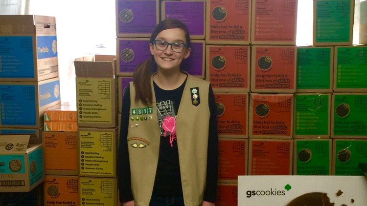 Spokane teen hopes to donate 3,000 boxes of Girl Scout cookies to U.S. troops