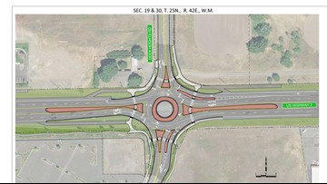 Highway 2 roundabout and North 40 Outfitters headed to Airway Heights