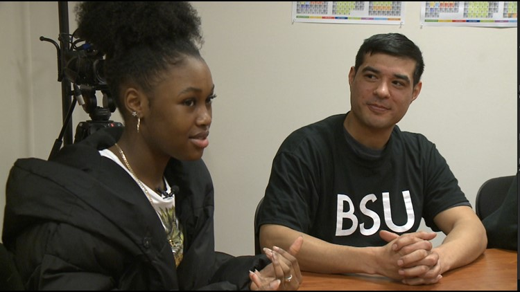 Members of Spokane Community College's Black Student Union during a round table