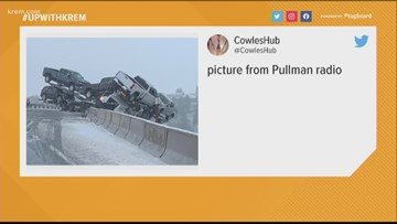 Semi nearly plunges into canyon on Highway 195 near Colfax