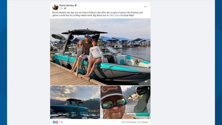 Celebrity sighting: Dierks Bentley visits Lake Coeur d'Alene