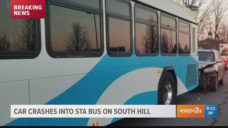 Driver crashes into STA bus on Spokane's South Hill
