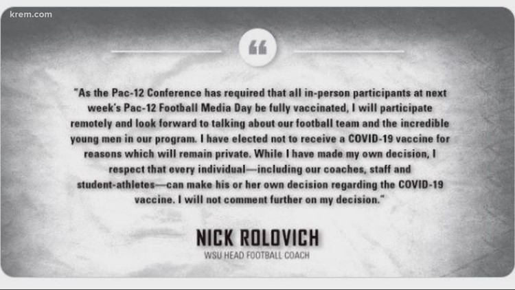 WSU Head Coach Nick Rolovich: 'I have elected not to receive a COVID-19 vaccine'