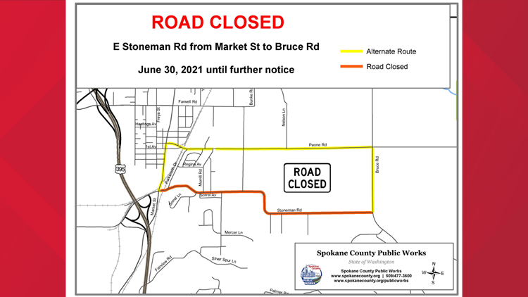 Record-breaking heat forces Spokane County road closure, detour in place