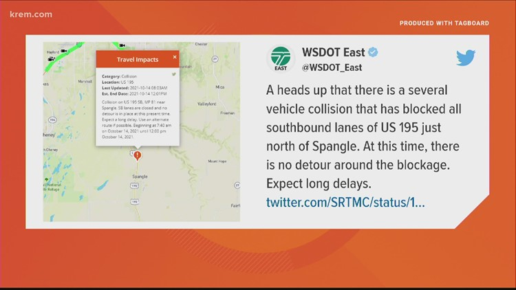 US-195 near Sprangle expected to be closed until noon