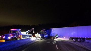 Semi-truck crash near Coeur d'Alene delays traffic on I-90