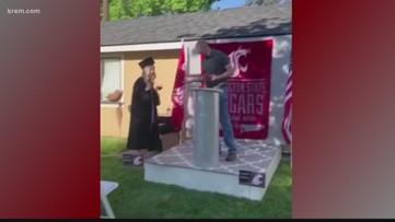 Washington State University grad surprised with backyard commencement