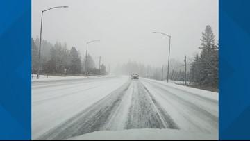 Snow falls in Spokane area, North Idaho on Tuesday