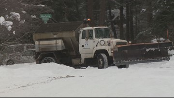 How are snowy and icy roads treated in the Inland Northwest?
