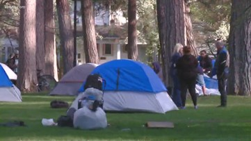 As buses arrive at Spokane homeless camp, some people say they won't leave