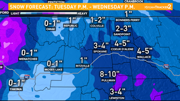 Spokane snow expected to snarl Tuesday evening commute