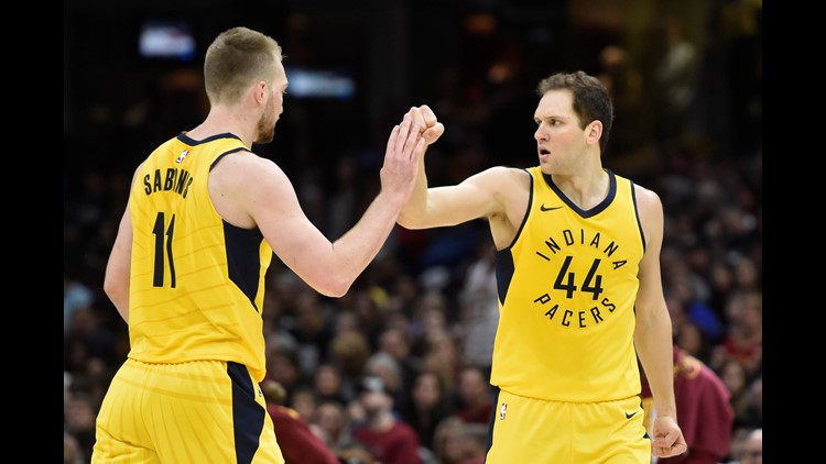 Apr 15, 2018; Cleveland, OH, USA; Pacers forward Bojan Bogdanovic (44) and center Domantas Sabonis (11) celebrate in game one of the first round of the 2018 NBA Playoffs at Quicken Loans Arena. Mandatory Credit: David Richard-USA TODAY Sports