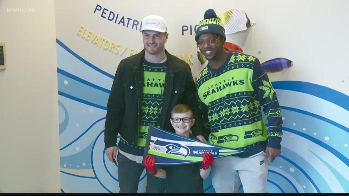 Two Seattle Seahawks visit Spokane's Sacred Heart Children's Hospital